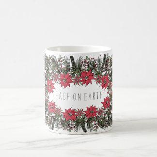 Peace on Earth Wreath Christmas Mug