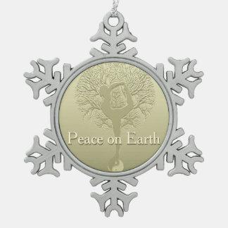 Peace on Earth Yoga Tree Snowflake Pewter Christmas Ornament