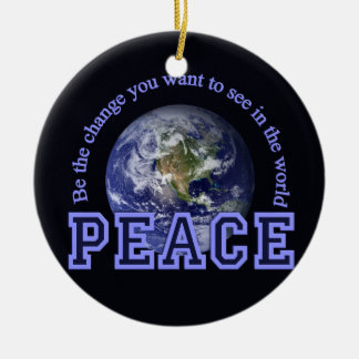 Peace ornament, customize round ceramic ornament