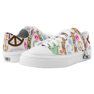 Peace & Paisley Collage Low-Top Sneakers
