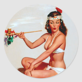 Peace Pipe Pin Up Classic Round Sticker