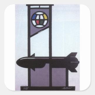 Peace poster Propaganda Poster Square Sticker