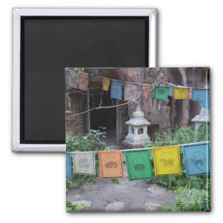 PEACE PRAYER FLAGS AT TEMPLE MAGNET