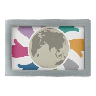 Peace Rectangular Belt Buckle