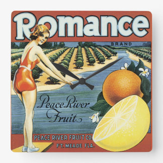 Peace River Fruit Co Crate Label Square Wall Clock