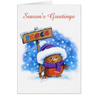 Peace Robin cute christmas card