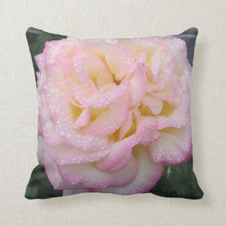 Peace Rose, after the rain. Throw Pillow