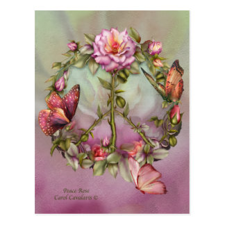 Peace Rose Art Postcard