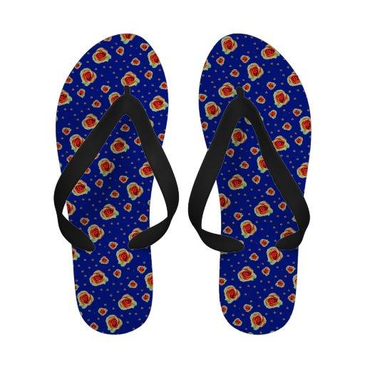 Peace Roses on Sapphire Blue Flip-Flops