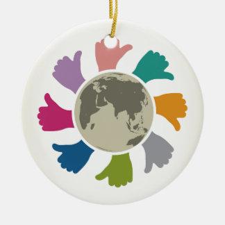 Peace Round Ceramic Ornament