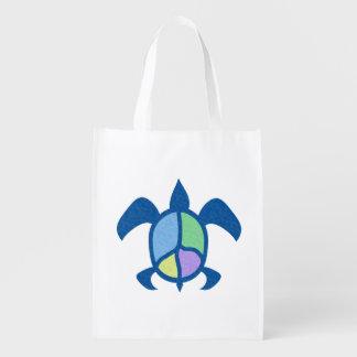 Peace Sea Turtle Reusable Grocery Bag