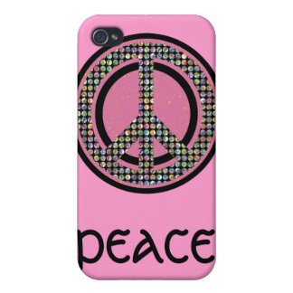 PEACE SEQUINED PINK iPhone 4 COVER