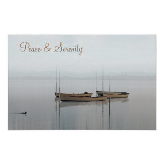 Peace & Serenity, Boats on a Still Lake Poster