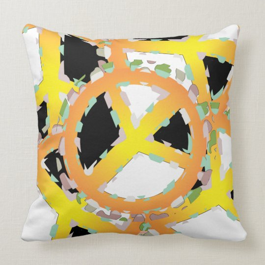 PEACE SIGN  3 CARTOON THROW PILLOW 20 X 20