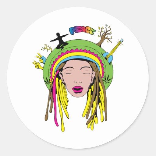 Peace Sign ~ 60s Hippie Girl Tie Dye Sticker