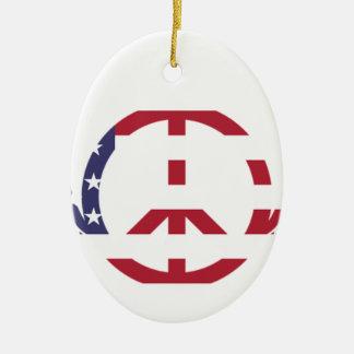 Peace Sign America Red White Blue Stars Usa Ceramic Ornament