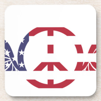 Peace Sign America Red White Blue Stars Usa Coaster