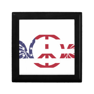 Peace Sign America Red White Blue Stars Usa Gift Box