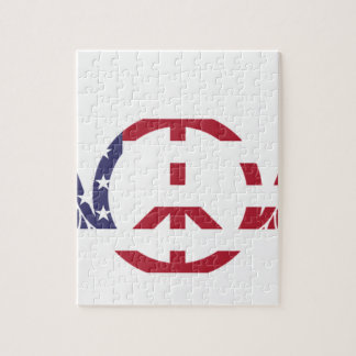 Peace Sign America Red White Blue Stars Usa Jigsaw Puzzle