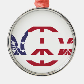 Peace Sign America Red White Blue Stars Usa Metal Ornament