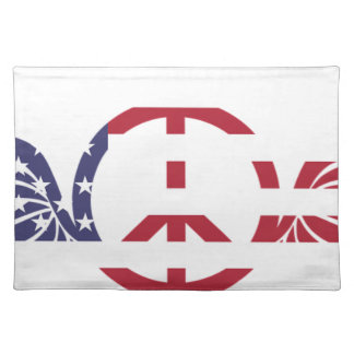 Peace Sign America Red White Blue Stars Usa Placemat