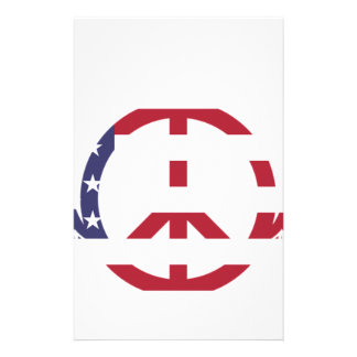 Peace Sign America Red White Blue Stars Usa Stationery