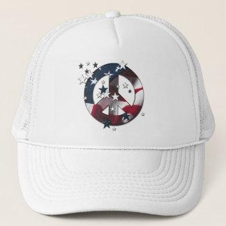 Peace Sign American Stars & Stripes Flag Trucker Hat