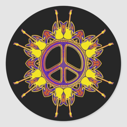 PEACE SIGN AND GUITARS CLASSIC ROUND STICKER