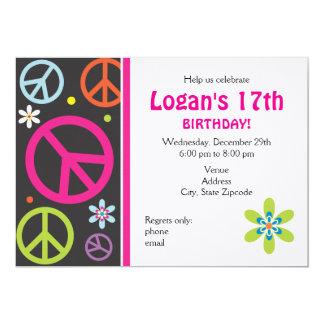 Peace Sign Birthday Invitation - Teen