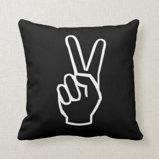 Peace Sign Black and White Pillow