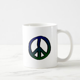 Peace Sign Blue and Green - Classic White Coffee Mug