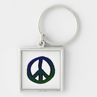 Peace Sign Blue and Green Keychain