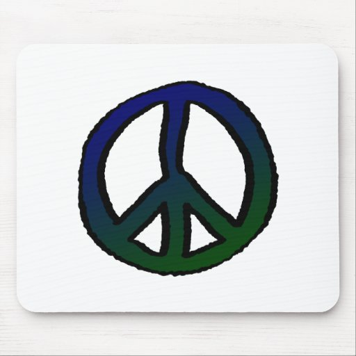 Peace Sign Blue and Green Mouse Pad