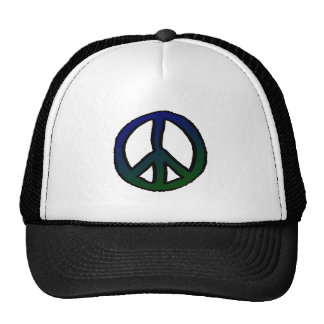 Peace Sign Blue and Green - Trucker Hat