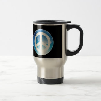 Peace Sign Blue Crystal Button 15 Oz Stainless Steel Travel Mug