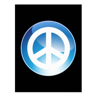 Peace Sign Blue Crystal Button Postcard