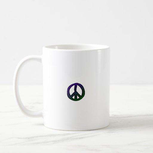 Peace Sign Blue Green Mini - Coffee Mug
