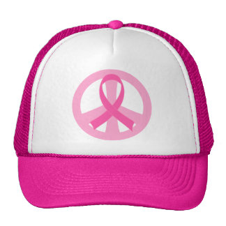 Peace Sign Breast Cancer Pink and White Gift Cap Trucker Hat