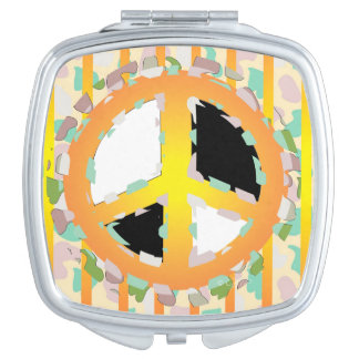 PEACE SIGN CARTOON compact mirror SQUARE