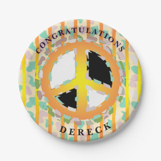 PEACE SIGN CARTOON  Paper Plates 7""