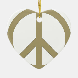 Peace Sign Ceramic Heart Ornament