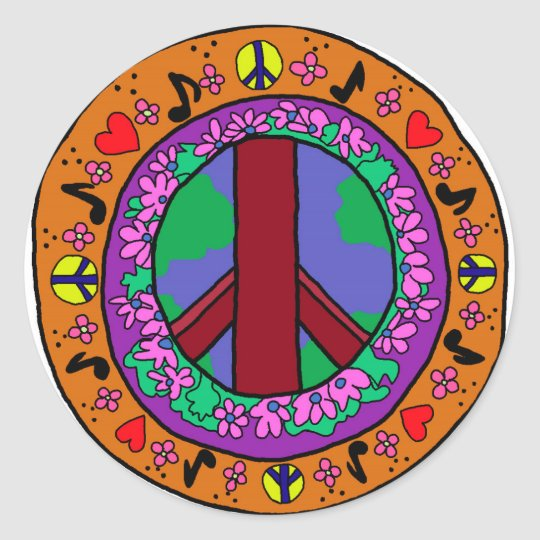 Peace Sign Classic Round Sticker