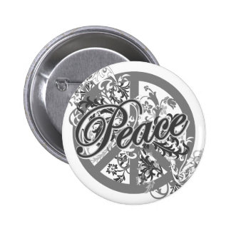 Peace Sign Filigree Art 2 Inch Round Button