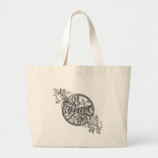 Peace Sign Filigree Floral Large Tote Bag