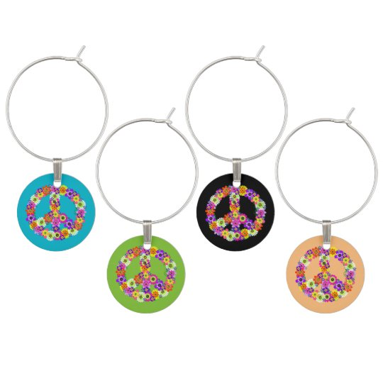 Peace Sign Floral in Assorted Colours Wine Glass Charm