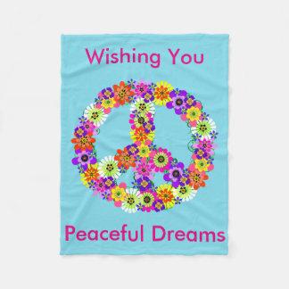 Peace Sign Floral in Light Blue Peaceful Dreams Fleece Blanket