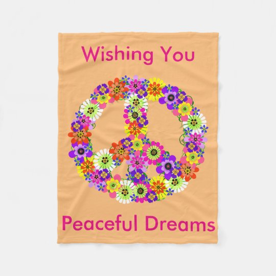 Peace Sign Floral in Peach Peaceful Dreams Fleece Blanket