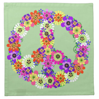 Peace Sign Floral Napkin