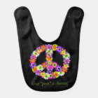 Peace Sign Floral on Black Bib