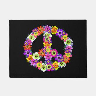 Peace Sign Floral on Black Doormat
